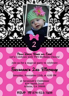 Sweet Printable Minnie Mouse Birthday Invitation- love the damask with the pink polkadots!