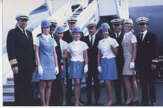 1970s Ray & Andree Le Dour pose with fellow crew members by a Pan Am Boeing 707 while serving on an Olson Charter. The Olsen Charters were an exclusive round-the-world all first class service.