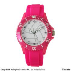 Girly Pink Volleyball Sports Watch #volleyball #watch #zazzle #digpink