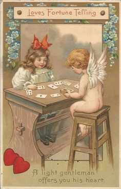 Vintage Valentine's Day Postcard Cupid Telling Little Girl's Fortune Nice Card #ValentinesDay