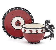 Ladybug Teacup & Saucer Set: Amazon.it: Casa e cucina