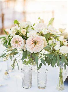 garden rose and eucalyptus centerpiece @weddingchicks