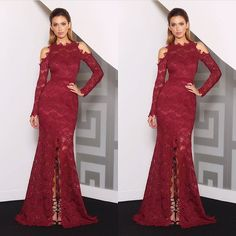 Here is a red long sleeve lace evening gown that is amazing. The elegant fashion design has a center split showing just a hint of leg.  Haute couture looking #eveningdresses like this do not have to cost a fortune.  You can have formal dresses like this recreated for you by our American dress company for a great price.  Get info on custom evening gowns & replicas of couture dresses when you contact us at www.dariuscordell.com