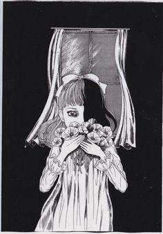 back cover of 洗礼 volume 2 by Umezu Kazuo Bizarre Art, Creepy Art, Scary, Arte Horror, Horror Art, Ink Illustrations, Illustration Art, Manga Gore, Japanese Horror