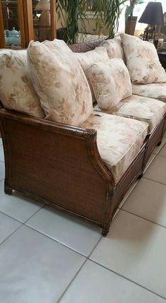 Rattan sofa, 2 chairs and ottoman