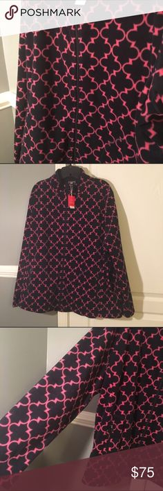 Talbots Navy W Pink Pattern Fleece HP-7/29 🎉🎉🎊 Talbots Navy With Pink Trellis Pattern Fleece Jacket 3X Blue Full Zip. Brand new with tags- Talbots. Talbots Jackets & Coats