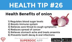 """ Health benefits of onion "" Onion Benefits Health, Sore Throat And Cough, Heath Tips, Regulate Blood Sugar, Boost Immune System, Daily Health Tips, Cancer, App, Apps"
