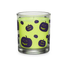 """Favorite fall fragrance is presented in a fun, pumpkin-print glass jar. Highly fragranced Hocus Pocus™ wax fills the air with the scent of coconuts and pralines. Burn time: 30-40 hours. 3 1/4"""" h, 2 3/4"""" dia. Jar is safe for food use after candle has consumed. $7 Click on picture."""