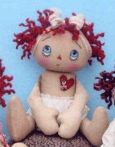 Primitive cloth doll PATTRN Charming Little Annies Doll Clothes Patterns, Doll Patterns, Heart Patterns, Sewing Patterns, Doll Face Paint, Sock Dolls, Rag Dolls, Raggedy Ann And Andy, Doll Tutorial