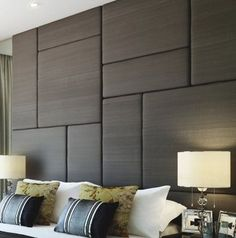 Upholstered acoustic wall panels and tall headboard solutions. Offering a popular variety of modern, transitional and traditional upholstered wall panels. Order matching bed frame in any size. Upholstered Wall Panels, Bedroom Panel, Interior, Bedroom Interior, Upholstered Walls, Bedroom Wall, Tall Headboard, Interior Design Bedroom, Bedroom Headboard