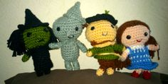 Wicked witch, tin man, scarecrow and Dorothy Amigurumi