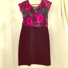LN Studio floral top/pencil skirt dress This dress is great for a professional but feminine look! It gives the appearance of a blouse and skirt but it is one dress. The top is floral sheer with a black slip underneath and the skirt portion is black. Size: 10 LN Studio Skirts Pencil