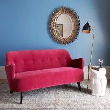 Enjoy the fabulous interior fashions of the with our luxurious shapely sofa. In dramatic raspberry velvet with button details, perched daintily on teak legs, this is a sofa to sit up in. Furniture Upholstery, New Furniture, Furniture Design, Living Room Colors, Living Room Sets, Beautiful Sofas, Buy Sofa, Pink Sofa, Sofa Shop