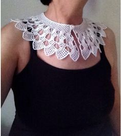 Items similar to Hand Crocheted Lace Peter Pan Collar, Necklace in White on Etsy Crochet Collar Pattern, Crochet Lace Collar, Hand Crochet, Crochet Stitches, Crocheted Lace, Colar Diy, Knitting Patterns, Crochet Patterns, Irish Lace