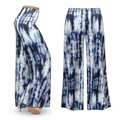 Customizable Blue & White Tie Dye Slinky Print Plus Size & Supersize Palazzo Pants - Leggings - Capri's - Sizes Lg to 9x