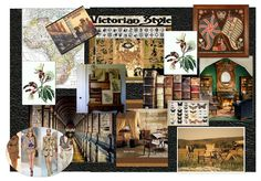 A mood board put together to explore subjects for my colonial study room, a design project for interior design study