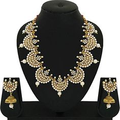 cceba91ef Buy Matushri Art Brass and Copper Traditional Indian Gold Necklace Set of  Wedding Collection for Women Online at Low Prices in India