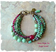 Bohemian Jewelry, Multiple Strands, Colorful Beaded Bracelet, Ruby and Mint…