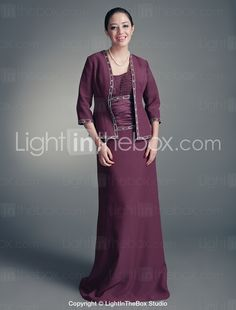 2aea230dc74 Sheath  Column Straps Floor-length Satin Chiffon Mother of the Bride Dress  With A