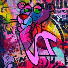 This article is not available - StreetArT Graffiti Art, Graffiti Wallpaper, Rosa Panther, Panthères Roses, Pink Panter, Photos Encadrées, Tableau Pop Art, Pink Painting, Painting Art