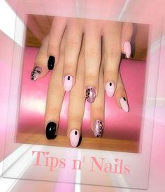 Ακρυλικο black and pink & animal print nail design