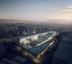 隈研吾建築都市設計事務所による「Scuola Universitaria Professionale Della Svizzera Italiana」(南スイス応用科学芸術大学)のためのコンペ案、スイス、メンドリジオ