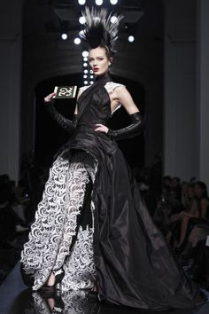 A #Goth glam wedding dress from Jean Paul Gaultier's 2010 haute couture collection