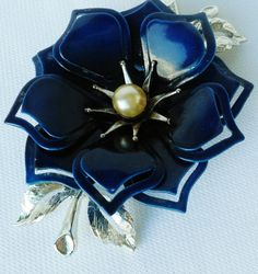Mod Navy Blue Flower Brooch Rockabilly Pin Up by normajeanscloset, $21.99
