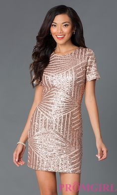 Prom Dresses, Celebrity Dresses, Sexy Evening Gowns: Short Sleeve Sequin Party Dress - MYM2048