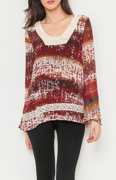 V-neck wide long sleeve tie dye print sheer loose fit top featuring crochet neckline and crochet panel. Great top to wear over leggings. #Wholesale Tops #clothing wholesale, #Casual #Day Tops, #Dressy #Chic #Trendy, #Boutique #Wholesale Boutique, #Mod #Vintage