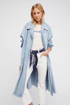 Farewell Denim Duster   Too cool denim duster featuring a relaxed fit with frayed edges for a lived-in look. * Large side pocket details * Button closures