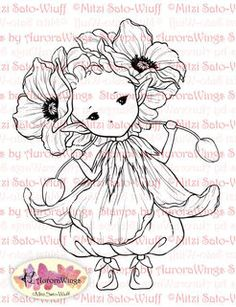 Poppy Sprite Digital Stamp.  Not free, but stamps by aurora wings has adorable digitals.