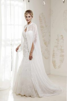 "V. SOUZ ""Cleo"" lace dress with lace cape.  Pure Royalty!"
