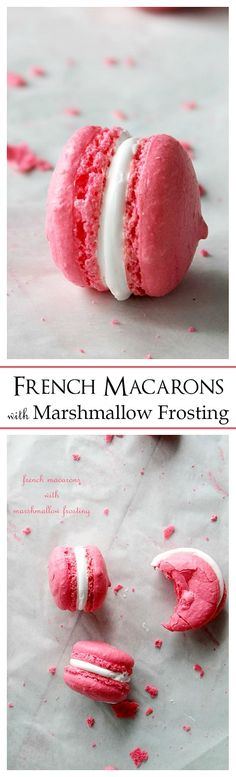 French Macarons with Marshmallow Frosting. Sweet, meringue-based sandwich cookies filled with an incredibly delicious Marshmallow Frosting. Your Valentine's Day dessert! Macarons, Macaron Cookies, Sugar Cookies, Baby Cookies, Heart Cookies, Just Desserts, Delicious Desserts, Baking Desserts, Yummy Treats