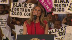 The first lady kicked off the a campaign rally in Florida on Saturday by reciting the Lord's prayer and saying she'll 'always stay true to myself. Pray For America, Elephant Party, Religion And Politics, Greatest Presidents, First Lady Melania Trump, Face And Body, Rally, Donald Trump, Crowd