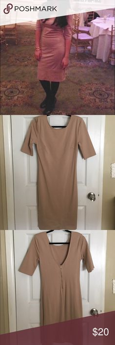 Beige midi dress MIDI dress with sexy low cut back. Great condition. Only wore it once. Dresses Midi