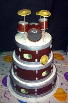 Awesome Photo of Drum Birthday Cake Drum Birthday Cake Pearl Drum Cake Make The Red Sparkly And Its Like The Set I Played Happy Birthday Drums, Drum Birthday Cakes, Halloween Birthday Cakes, Birthday Ideas, 13 Birthday, Birthday Table, Birthday Stuff, Birthday Wishes, Birthday Parties