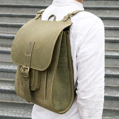 "Green leather backpack 15.6"" - InBagWeTrust"