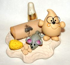 WINE LOVER PARKER Polymer Clay Character  Limited by KatersAcres --- ADOPTED