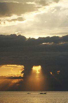 foto wolken mooi zon zee