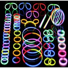 Glow sticks, bracelets, necklaces, etc. to wear during party and for party bags.