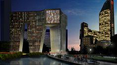 Het nieuwe gebouw dat het centraal station in Den Haag zou worden, maar niet doorgaat wegens te veel onzekerheden rond het project.