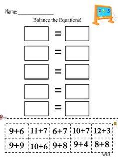 Balancing equations worksheet 2nd grade
