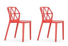 Red Juju Dining Chairs, Set of 4 Zuo Modern, $699.  What a fabulous pop of color for the kitchen!