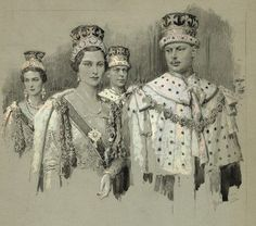 """Dukes and Duchesses of Gloucester and Kent at the Coronation of George the Sixth."" Place, date of publication unknown. Ink, inkwash, pencil, white on grey board, lovely delicate, detailed work. Image area measures about 8x10 inches on larger grey board. On the reverse are preliminary drawings for a couple of other pieces along with a single portrait. $800.00"