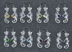 Alien Cat Earrings in Sterling Silver - Choose a Gemstone! These small sterling…