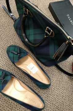 Talbots Blackwatch tartan flats and Dooney and Bourke tartan bag. Clothing, Shoes & Jewelry : Women : handbags and purses for women http://amzn.to/2j9CmhZ