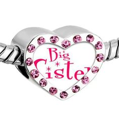 "Pugster Pink Swarovski Crystal Artistic Words ""big Sister"" Photo Heart Silver Plated Beads Fits Pandora Charm Chamilia Biagi Bracelet Pugster. $16.49. Color: Pink. Weight (gram): 2.8. Metal: Crystal. Size (mm): 12.95*7.4*10.31"