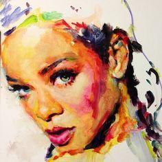 Rihanna painting - by  Charmaine Olivia