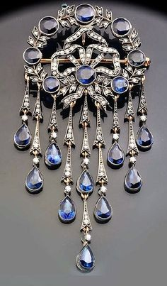Ekaterina Kostrigina jewelleryPendant-brooch-of-gold-and-silver-with-diamonds-and-sapphires #antiquejewelry